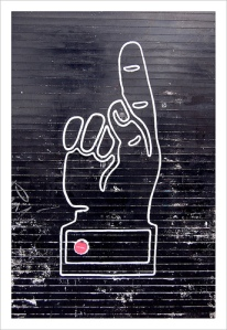 Ce doigt peint verticalement sur un mur montre de l'autorité, comme un lien qui passe de l'autorité d'un site à l'autre.
