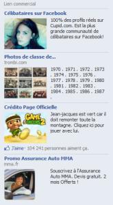 Exemple de publicité facebook mal ciblée