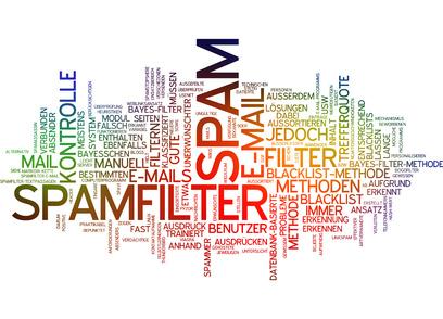 Un tag cloud des termes autour de spam filter. Une image pour évoquer la communication par interruption souvent perçue comme du spam