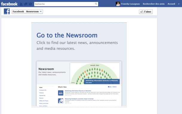 L'application newsroom de Facebook