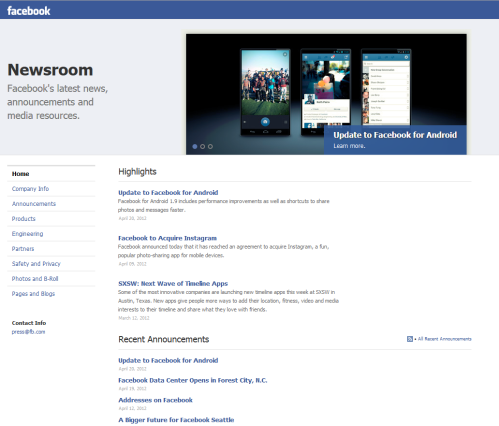 La Newsroom de Facebook