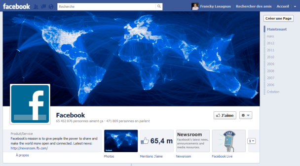 La newsroom de Facebook est accessible sous la Timeline de la page Facebook