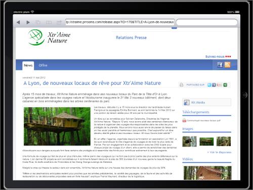 Un communiqué d'une salle de presse en ligne PR Rooms visionné sur iPad