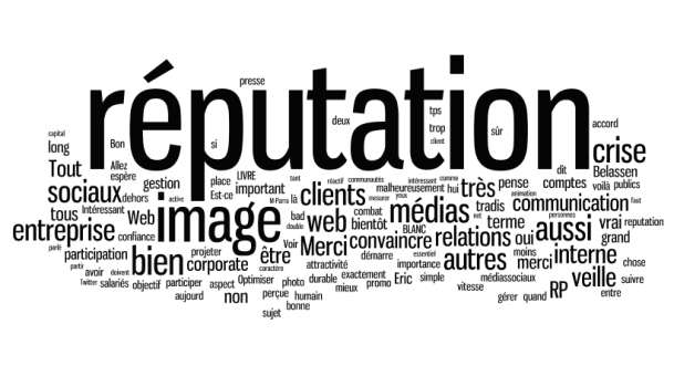 """Tag cloud du tweetchat PR Rooms """"communication corporate et gestion de la réputation 2.0"""""""