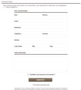Formulaire de saisie de données dans une landing page PR Rooms