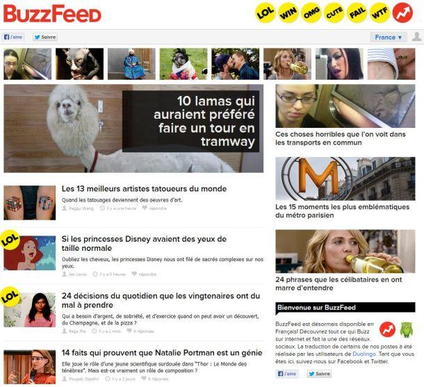 Page d'accueil de Buzzfeed