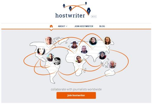 Page d'accueil de Hostwriter